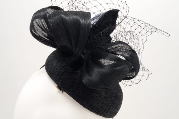 Black button cocktail hat silk shibori butterfly by Sydney milliner, Abigail Fergusson