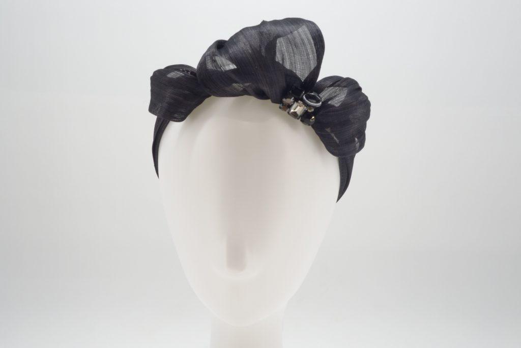 Black silk abaca headband with crystal detail by Sydney milliner, Abigail Fergusson Millinery