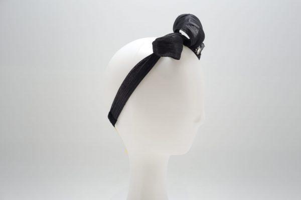 Black silk abaca headband with crystal detail by Sydney milliner, Abigail Fergusson Millinery