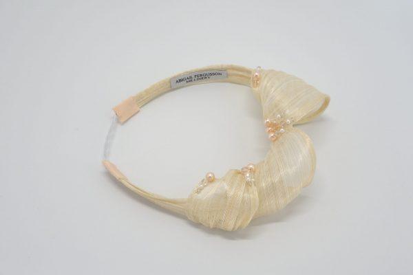 Ivory silk abaca headband with Swarovski crystals by Sydney milliner, Abigail Fergusson Millinery