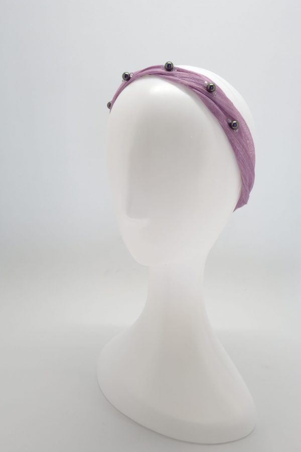 Lilac silk abaca headband with Swarovski crystals by Sydney milliner, Abigail Fergusson Millinery