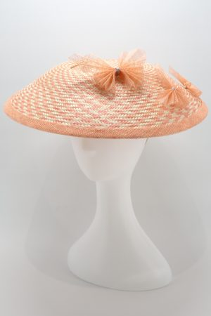 Coral and Ivory two tone dior hat with sinamay butterflies by Sydney milliner, Abigail Fergusson Millinery
