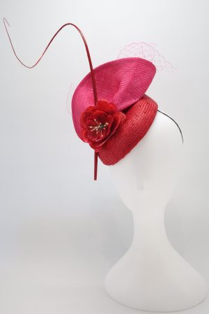 red pink duchess cocktail hat by sydney millinery Abigail Fergusson