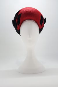 red halo with black trim spring racing sydney milliner Abigail Fergusson