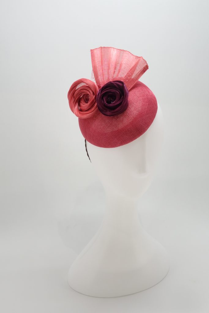 Pink button cocktail hat by Sydney milliner, Abigail Fergusson