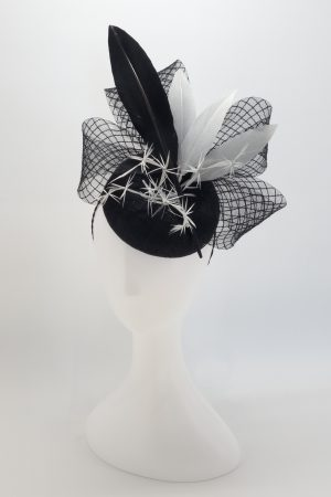 Monochrome feathered button cocktail hat by Sydney milliner Abigail Fergusson Millinery