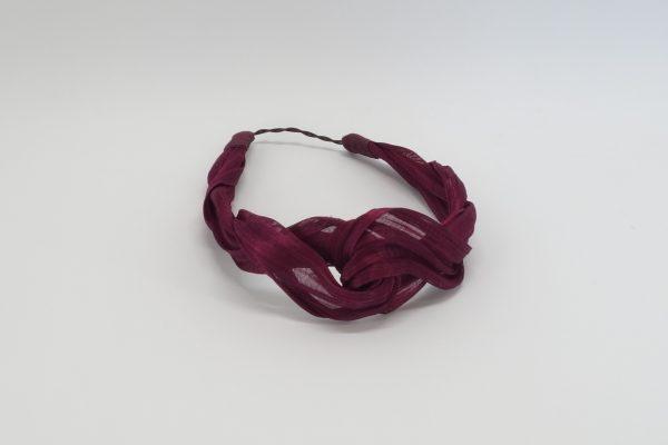 Twisted magenta silk abaca headband ny Sydney milliner Abigail Fergusson