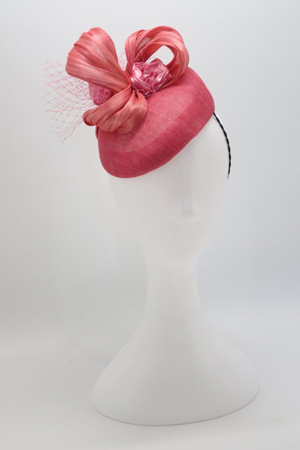Pink duchess sinamay cocktail hat with shibori ribbon by Sydney milliner Abigail Fergusson
