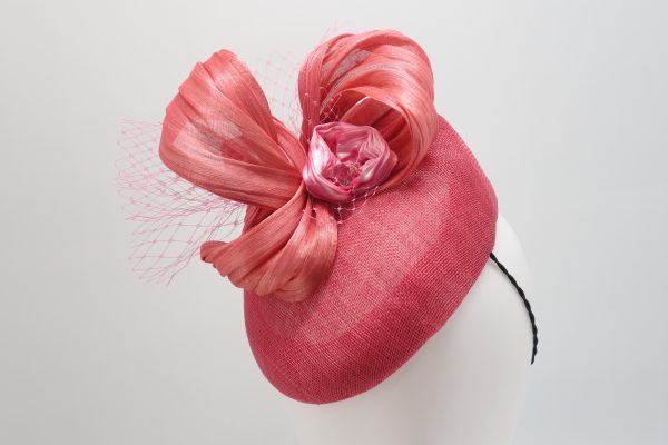 Pink duchess sinamay cocktail hat with shibori ribbon by Sydney millinery Abigail Fergusson