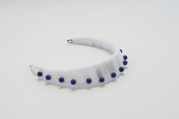 White tulle headband with Swarovski Dark Lapis Pearls by Sydney Milliner Abigail Fergusson