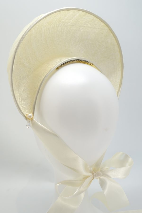 Ivory Tulle Bridal Halo Crown with Ribbon Tie by Sydney Millinery, Abigail Fergusson Millinery
