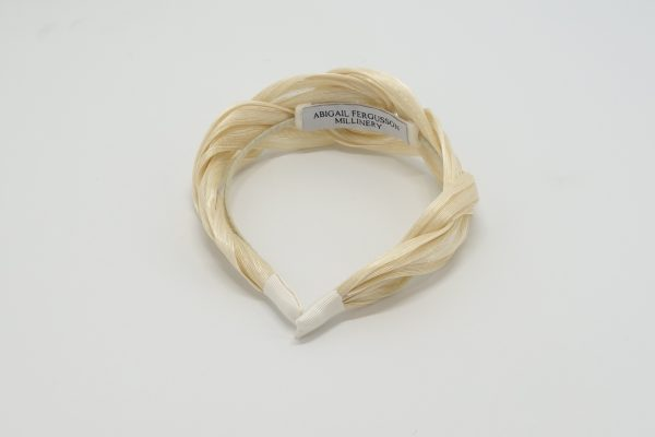 Twisted ivory silk abaca bridal headband by Sydney milliner Abigail Fergusson Millinery
