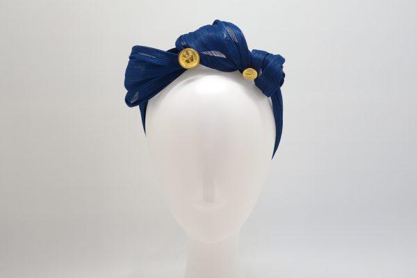 Royal blue silk abaca knotted headband ny Sydney milliner Abigail Fergusson Millinery