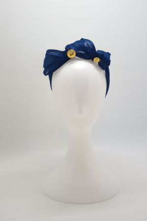 Royal blue silk abaca knotted headband ny Sydney milliner Abigail Fergusson Millinery