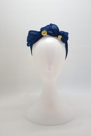 Royal blue silk abaca knotted headband ny Sydney milliner Abigail Fergusson