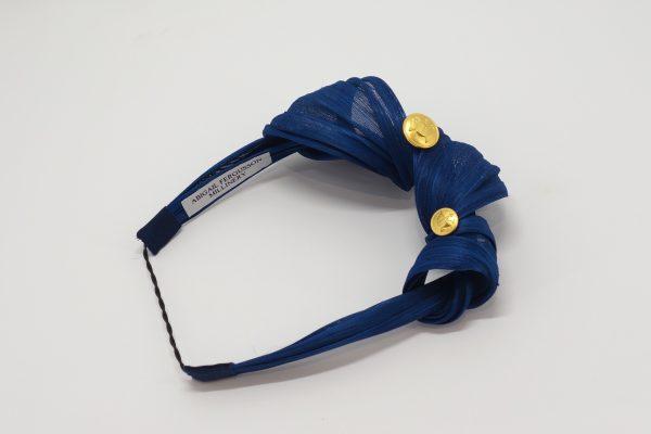 Royal blue silk abaca knotted headband by Sydney milliner Abigail Fergusson Millinery