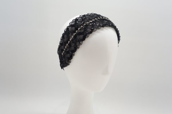 Black racello braided headband by Sydney milliner Abigail Fergusson Millinery
