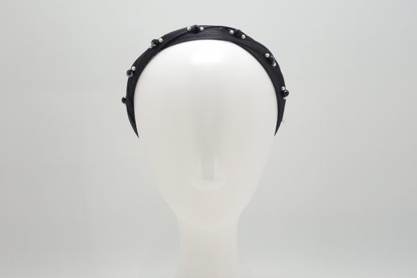 Black silk abaca headband with Swarovski crystals and pearls by Sydney milliner, Abigail Fergusson Millinery