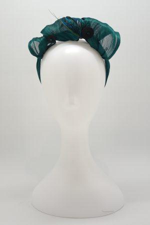 Emerald green silk abaca peacock feather headband by Sydney milliner Abigail Fergusson Millinery