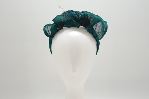 Emerald green silk abaca peacock feather headband by Sydney milliner Abigail Fergusson Millinery