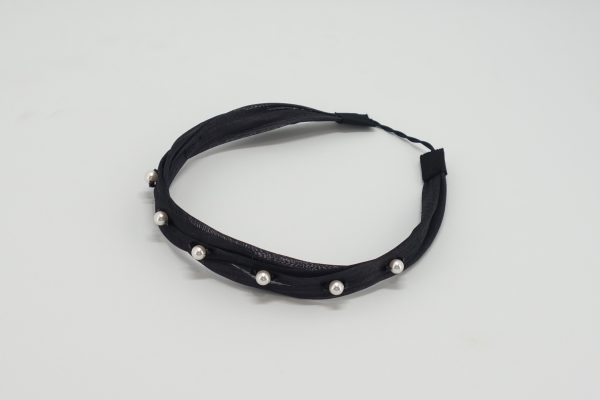 Black silk abaca headband with Swarovski crystals and pearls by Sydney milliner, Abigail Fergusson Millinery