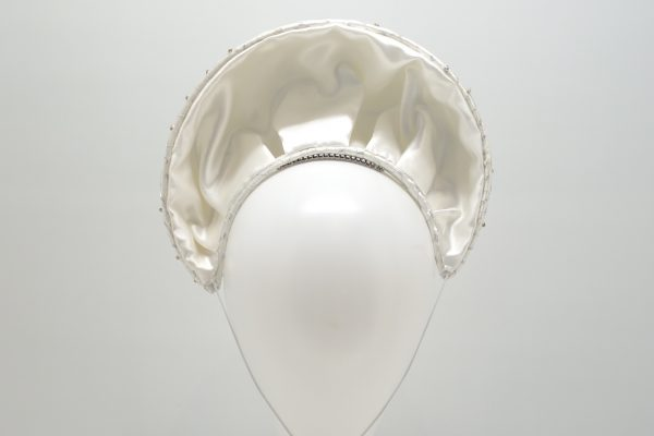 White satin Bridal Halo Crown with crystals and silver netting by Sydney Milliner, Abigail Fergusson Millinery