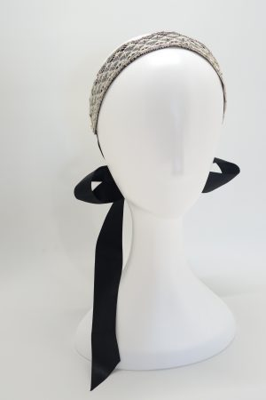 Vintage Bridal Lace Ribbon Headband with hand beading by Sydney milliner, Abigail Fergusson Millinery