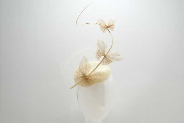 Ivory button cocktail hat with origami butterflies by Sydney milliner Abigail Fergusson Millinery