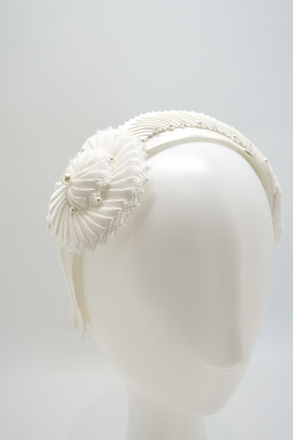 White pleated ribbon headband with swarovski beading by Sydney milliner Abigail Fergusson Millinery