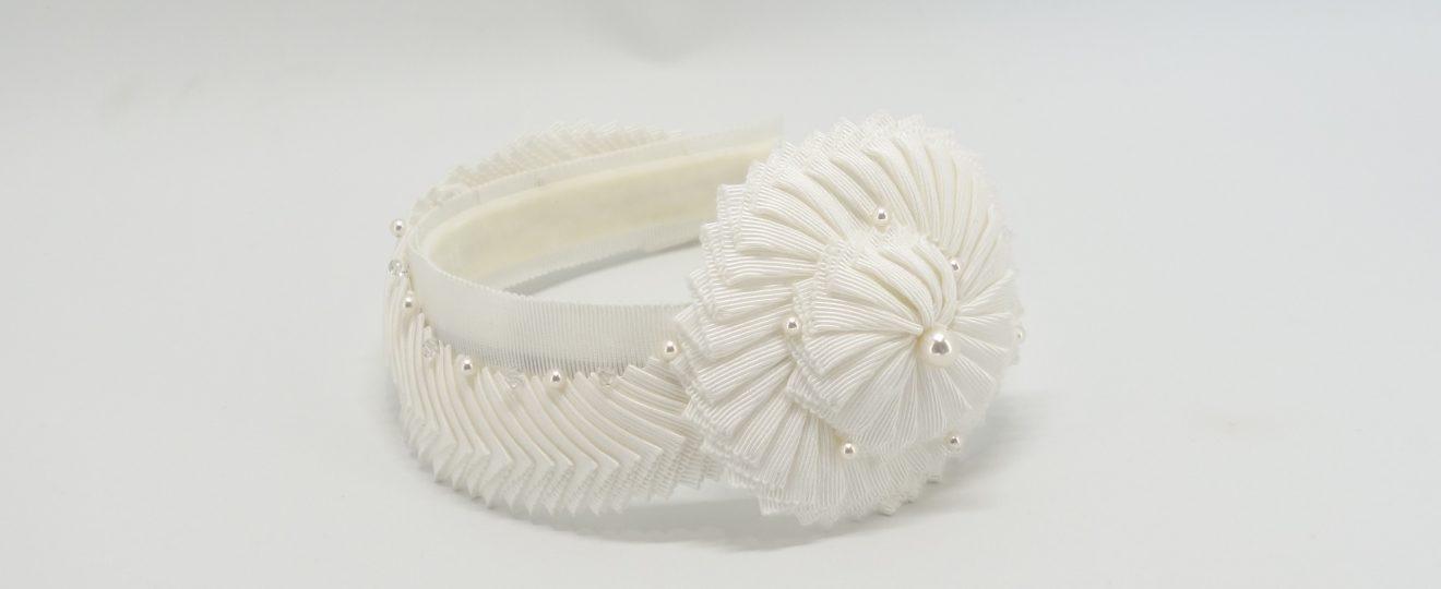 White pleated ribbon headband with swarovski beading by Sydney milliner Abigail Fergusson Millinery