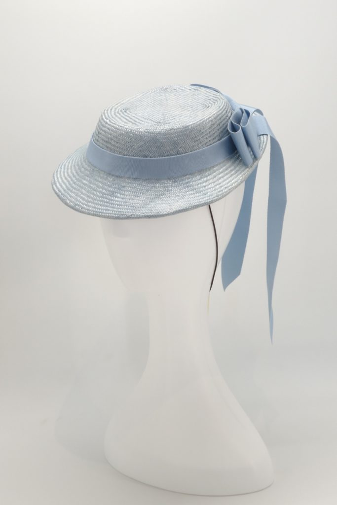 Straw percher cocktail hat with bow by Sydney Milliner, Abigail Fergusson Millinery