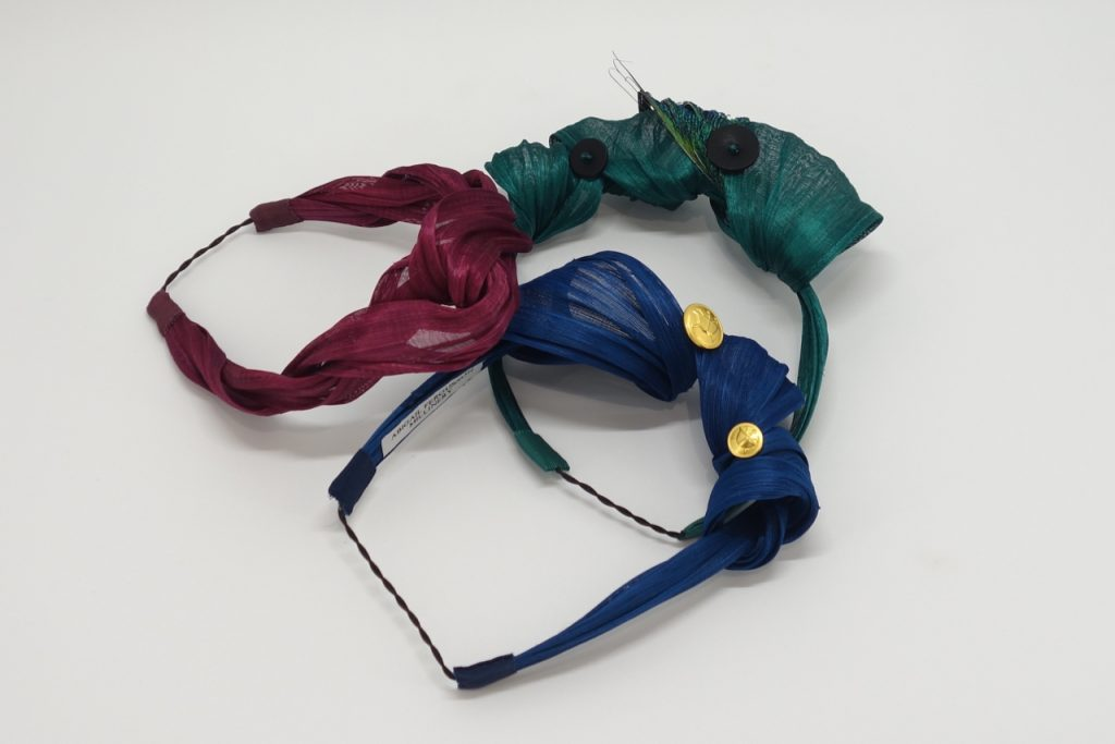 Jewel toned silk abaca headbands by Sydney Milliner, Abigail Fergusson Millinery