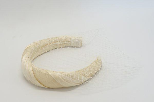 Ivory headband with birdcage veil by Sydney milliner Abigail Fergusson Millinery
