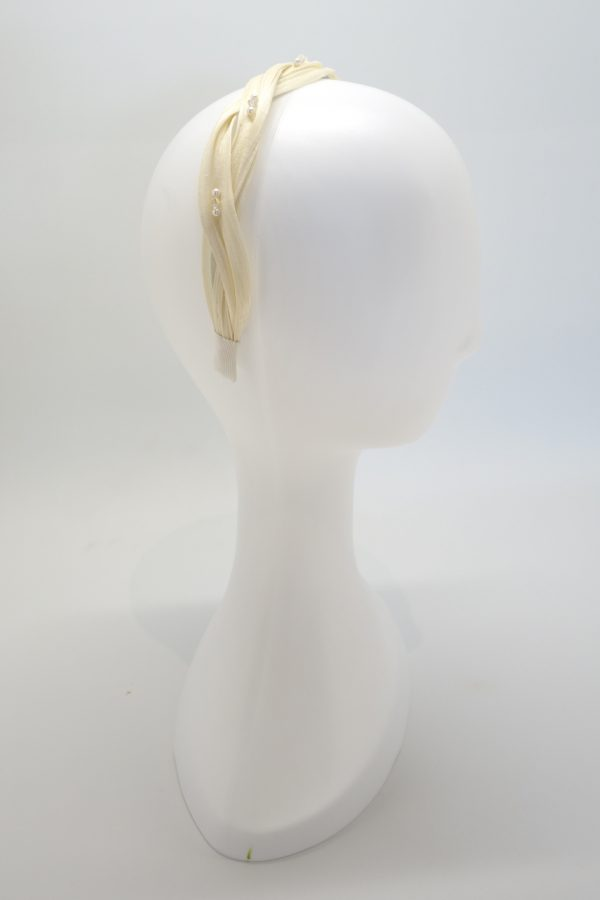 Ivory headband with Swarovski crystal and pearl beading by Sydney milliner Abigail Fergusson Millinery