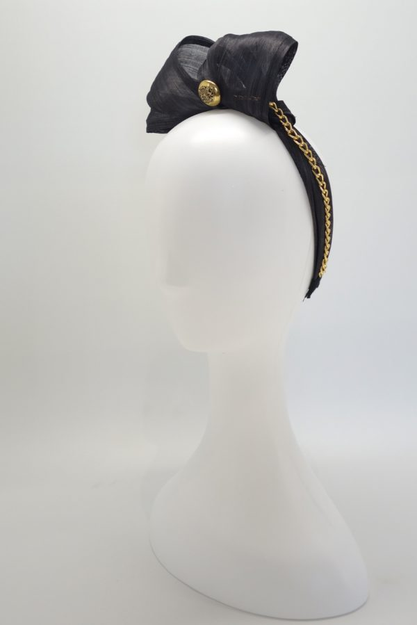 Black silk abaca headband with gold chain and button detail by Sydney milliner, Abigail Fergusson Millinery
