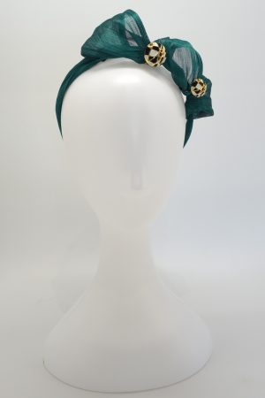 Emerald green silk abaca button headband by Sydney milliner Abigail Fergusson Millinery