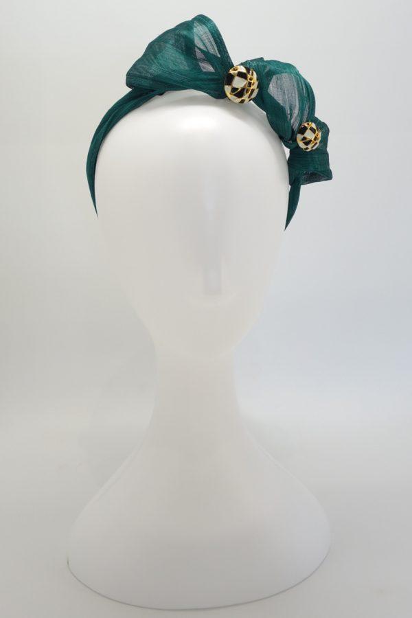 Emerald green silk abaca button headband by Sydney milliner Abigail Fergusson Millinery