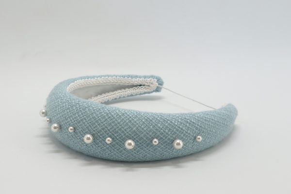 Blue Tweed Padded Headband with Swarovski pearls by Sydney milliner, Abigail Fergusson Millinery