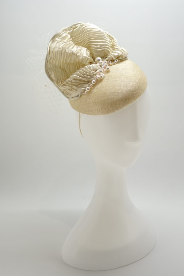 Bespoke Custom Mother of the Bride Pearl Duchess Cocktail Hat by Sydney Milliner, Abigail Fergusson Millinery